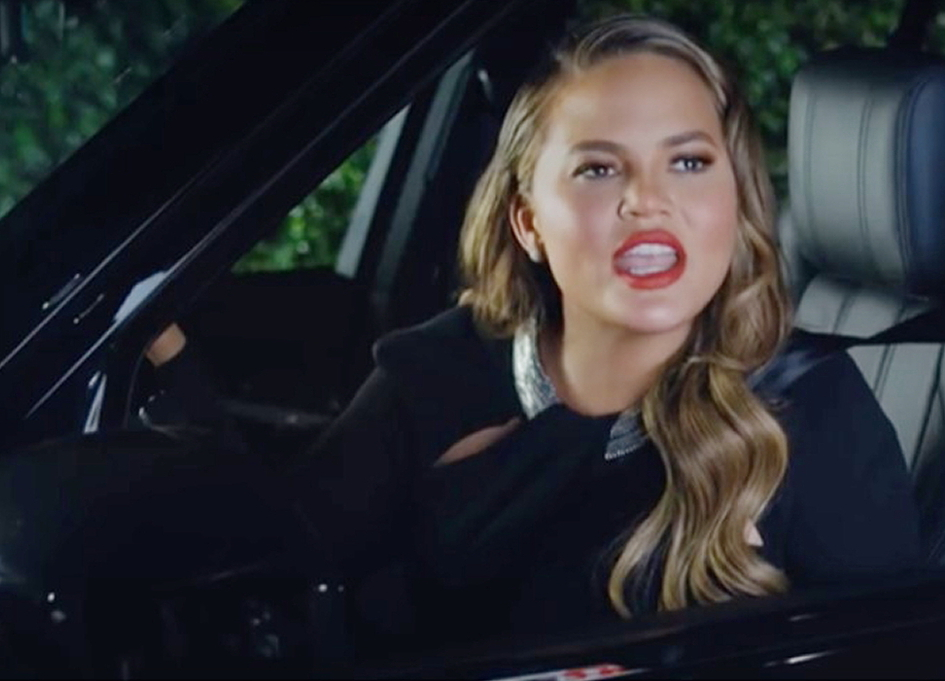 Chrissy Teigen at the drive-thru