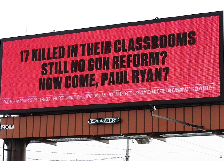 The new billboard outside of Wisconsin Congressman Paul Ryan's office